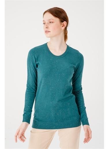 Desen Triko Kadın Sımlı Basıc Sıfır Yaka Bluz Sıyah Nefti